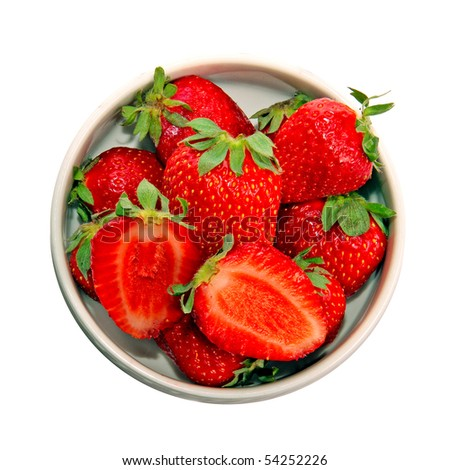 A heap of red fresh strawberries in a dish, isolated on white - stock photo