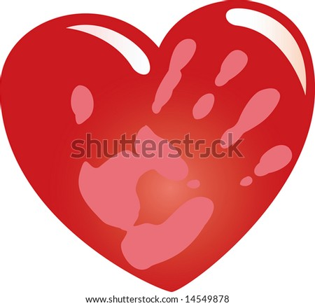 A heart. A hand. Print of a hand on heart. A vector illustration. - stock photo