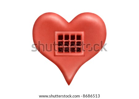 A heart as prison cell made of red plasticine - stock photo