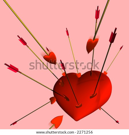 A heart being repeatedly hit by Cupid's arrows on a pink background.