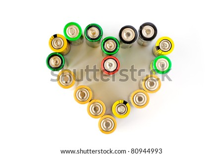 A heart made from AA batteries isolated on the white background - stock photo