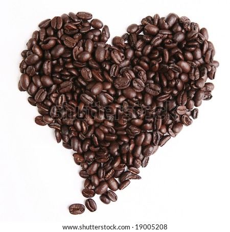 A heart made of coffee crops. Isolated on white background - stock photo
