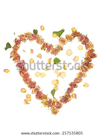 a heart made with old dried up flowers on a white background - stock photo