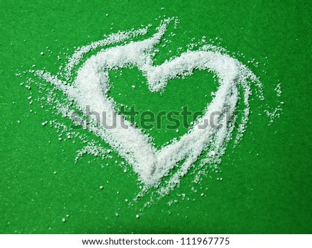 a heart of snow - stock photo