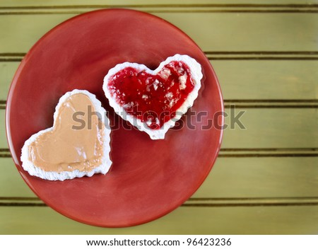 heart shaped peanut butter and jelly sandwich on a plate - stock ...