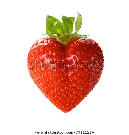 a heart shaped strawberry isolated on a white background - stock photo