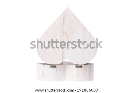 A heart shaped wooden gift box isolated on white - stock photo