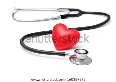 A  heart with a stethoscope  isolated on white background - stock photo