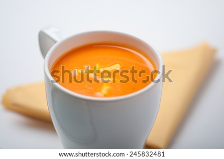 A hearty tomato pumpkin instant soup - stock photo