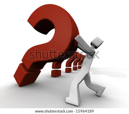A heavy question mark falling to a 3d human shape character showing he solving problems - stock photo