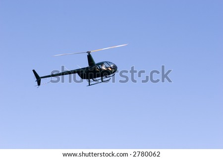 A helicopter in flight