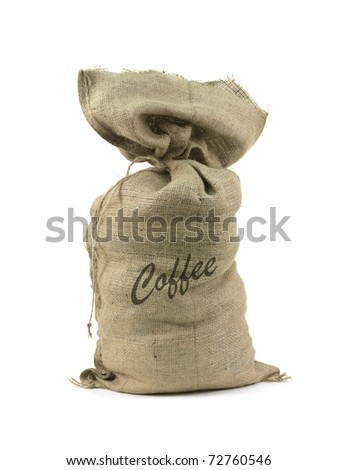 A hessian coffee bag isolated against a white background - stock photo