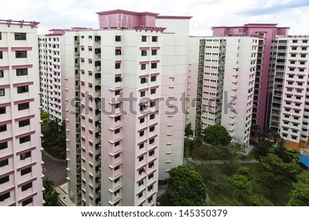 A high angle view of a residential estate with pink color theme- Singapore - stock photo