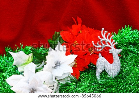 A high contrast seasonal holiday Christmas decoration with room for your text. - stock photo