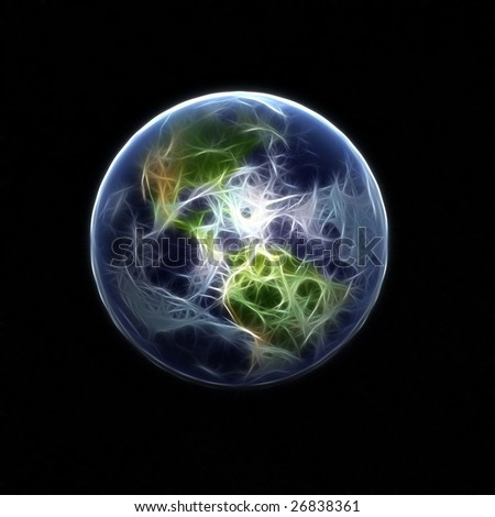 A high detail 3d render of the earth & atmosphere