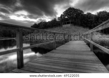 A high dynamic range image of a lookout with dynamic sky. - stock photo