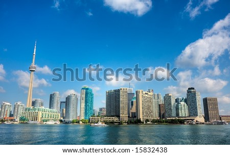 A high dynamic range shot of the Toronto, Ontario, Canada city skyline. - stock photo