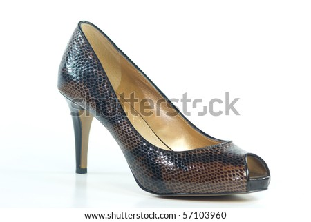 A high heel peep toe shoe