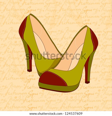 a high-heeled vintage green shoes on hand draw text pattern - stock photo