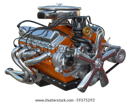 A high performance v8 engine on a white background no clipping path included. - stock photo