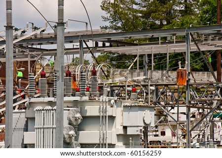 A high power electrical generation area in an industrial plant - stock photo