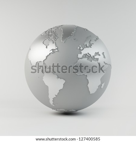 A High quality 3D Earth Structure styled in a reflective chrome material. - stock photo