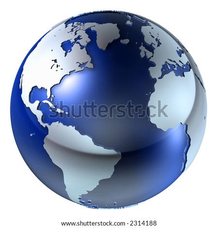 A high quality 3d earth structure styled in a reflective glass & chrome combo over white for easy isolation. - stock photo