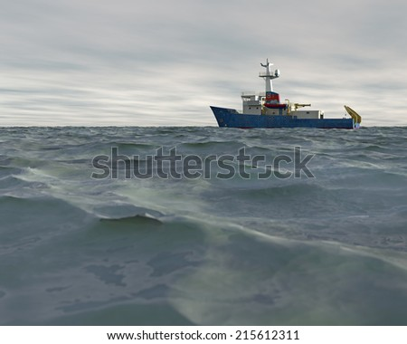 A high quality 3D render of a research ship moving across a choppy sea with an overcast sky. Fictitious research vessel is a unique design. - stock photo