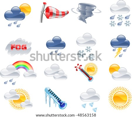 A high quality icon set relating to weather and weather forecasting. - stock photo