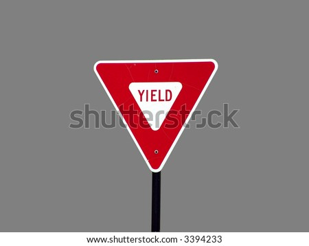A high quality isolated metal yield sign close up image - stock photo