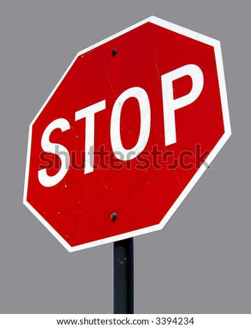 A high quality metal stop sign close up image