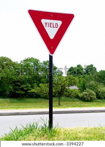 A high quality metal yield sign close up image - stock photo