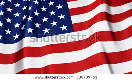 A high quality Render of the stars and stripes USA flag - stock photo