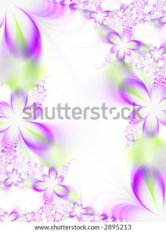 A high resolution, computer generated, fractal simulating a flower invitation for weddings, showers, or other special events (such as Mother's Day, Easter, or Valentine's Day).