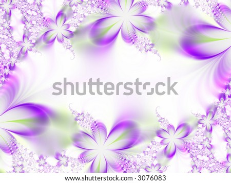 A high resolution, fractal simulating a flower invitation for weddings, showers, or other special events (such as Mother's Day, Easter, or Valentine's Day). - stock photo
