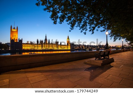 A high resolution night view of Big Ben and the Houses of Parliament in London at night - stock photo