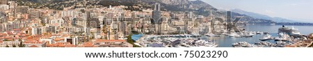 A high resolution panorama of Monaco, Monte Carlo - stock photo