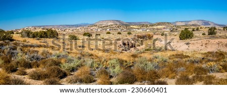 A High Resolution Panoramic View of a Small New Mexico Village - stock photo
