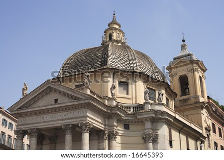 A high summer view of the Church of Santa Maria del Popolo in Rome.