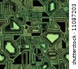 A high-tech circuit board background. It tiles seamlessly, when setting it as a pattern. - stock photo