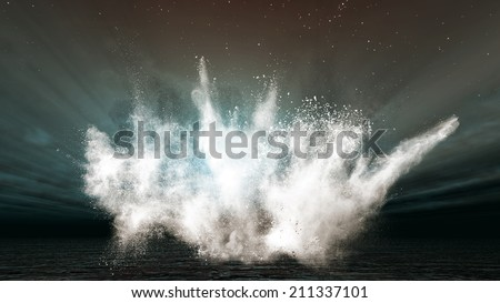 A high tide in the open sea - stock photo