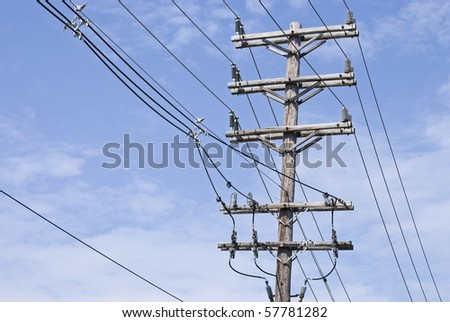 A high voltage per pole in an electrical power plant. - stock photo