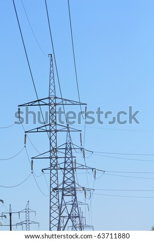 A high voltage powerline under construction - stock photo