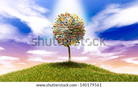 A highlighted stylized tree with leaves of australian dollar bank notes on a grassy hill with a blue sky backdrop - stock photo