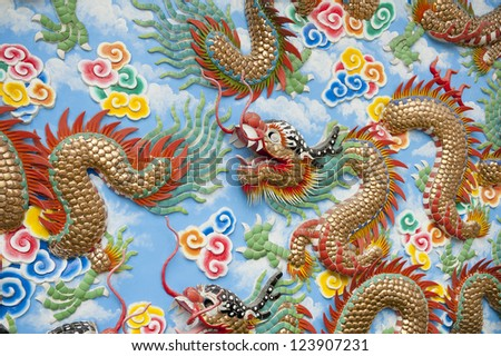 A highly colorful and decorative section of a wall in a Chinese temple