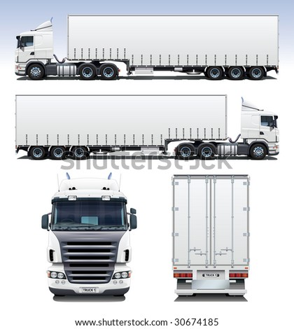 A highly detailed illustration of semi-trailer truck. Perfect for applying company graphics to. - stock photo