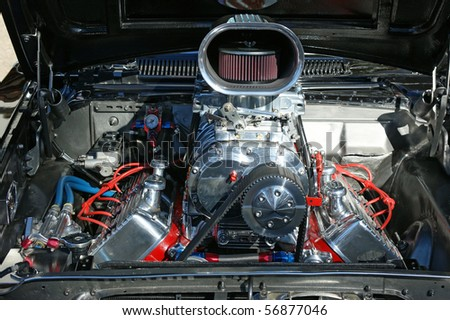 A highly modified engine restored for competition showing. - stock photo