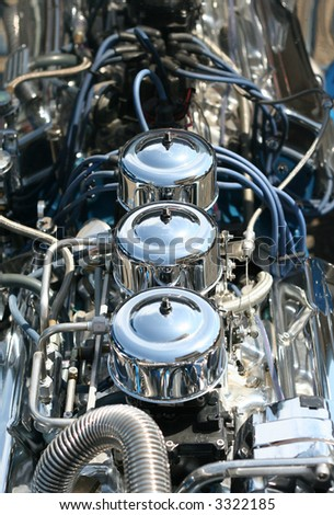 A Highly Polished Chrome Hot Rod Engine Block - stock photo