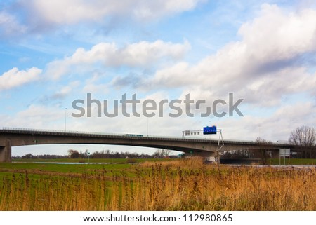 A28 highway crossing the river Ijssel at Zwolle in The Netherlands - stock photo