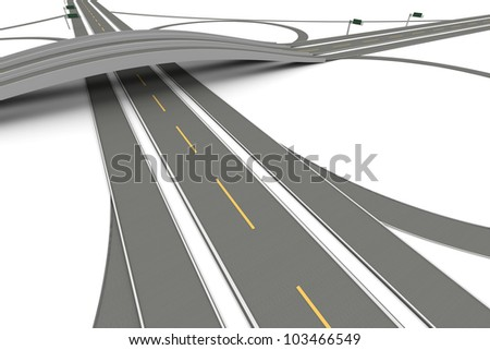 A Highway interchange. 3D rendered Illustration. Isolated on white. - stock photo